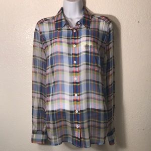 Equipment Sheer Plaid Blouse size Medium